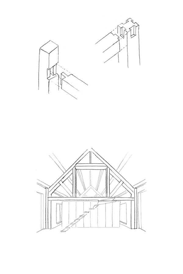 sketches of oak frame and joints