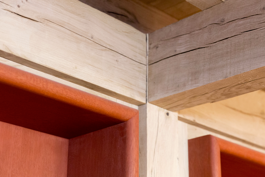 timber joist and red wooden locker detail