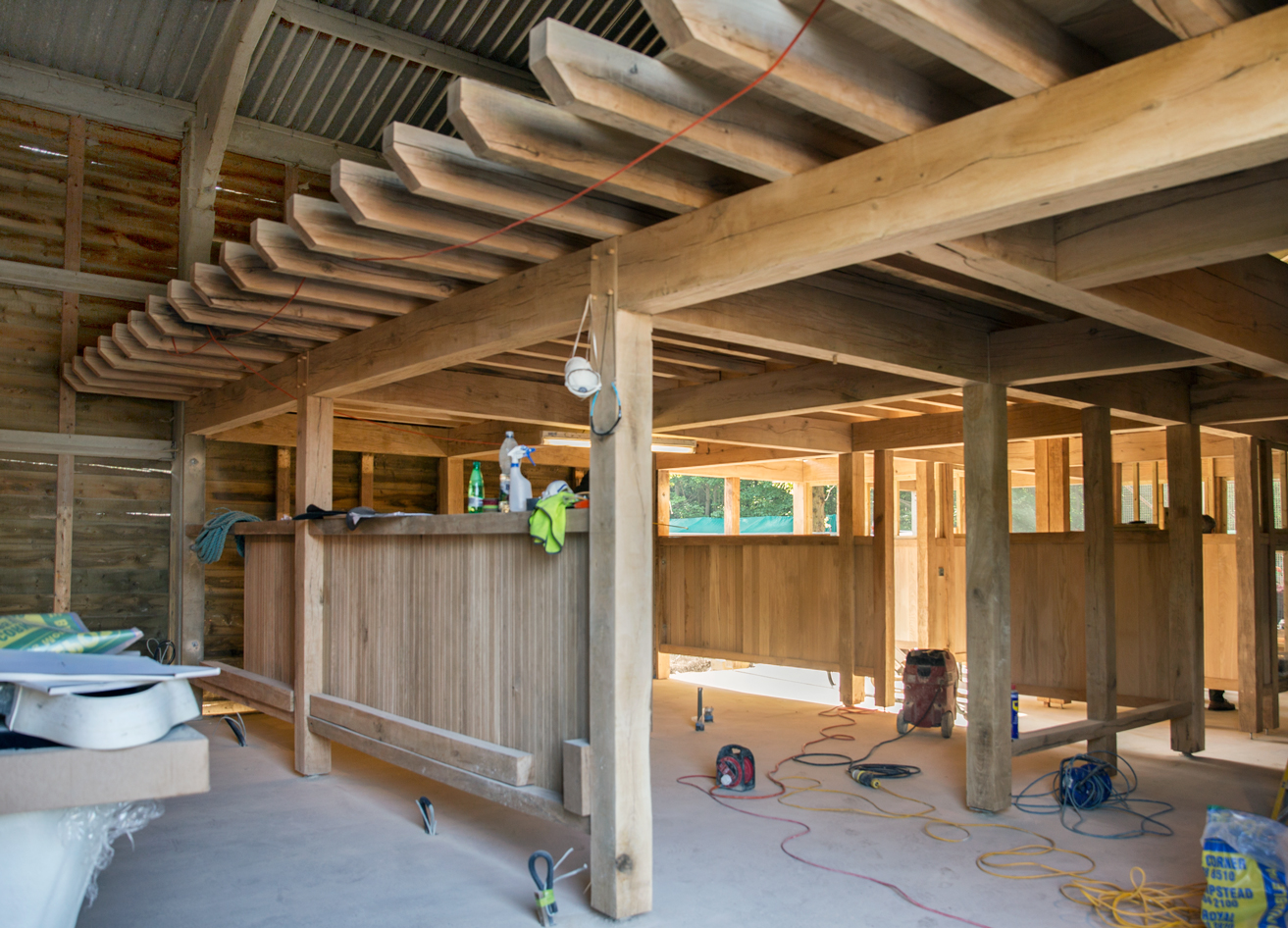 oak structural frame and partitions under construction