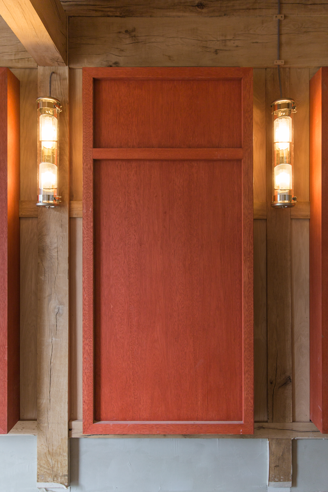 stained red oak locker and lights