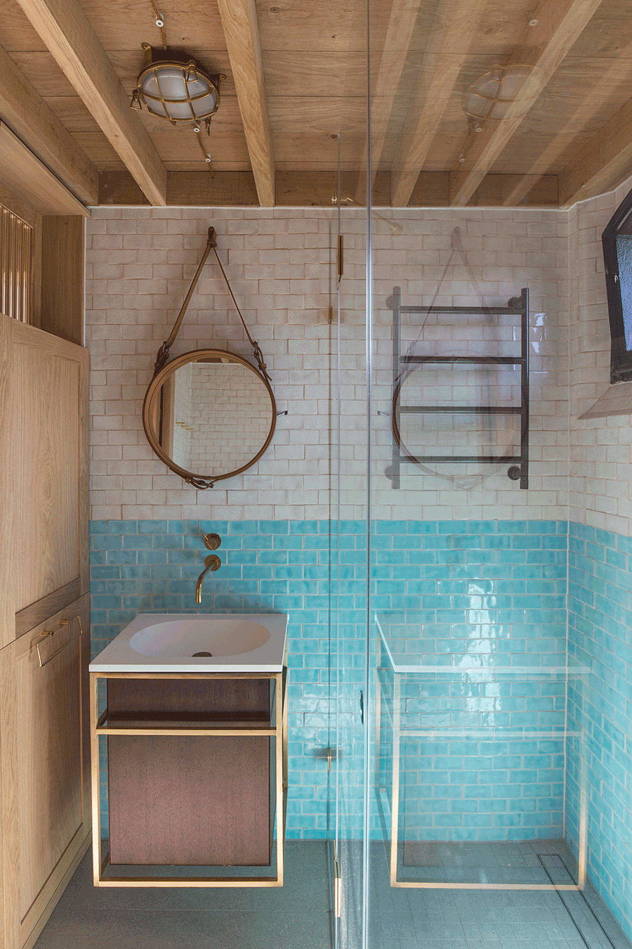 bathroom with white and blue hand-made terracotta tiles