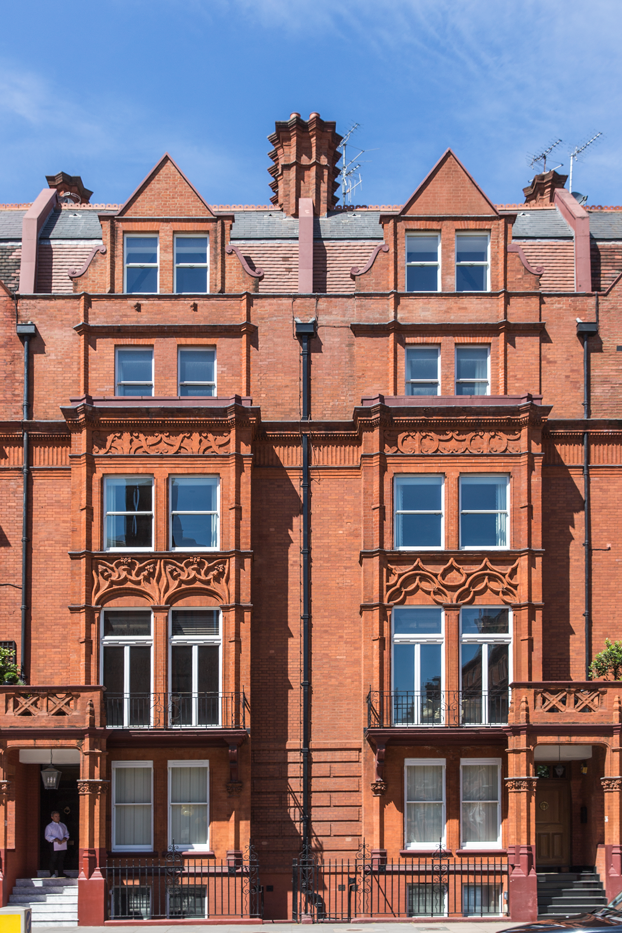 red brick facade to Pont Street