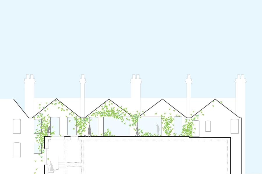section drawing through roof terrace