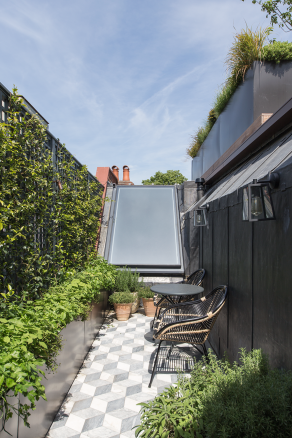pitched rooflight in roof garden